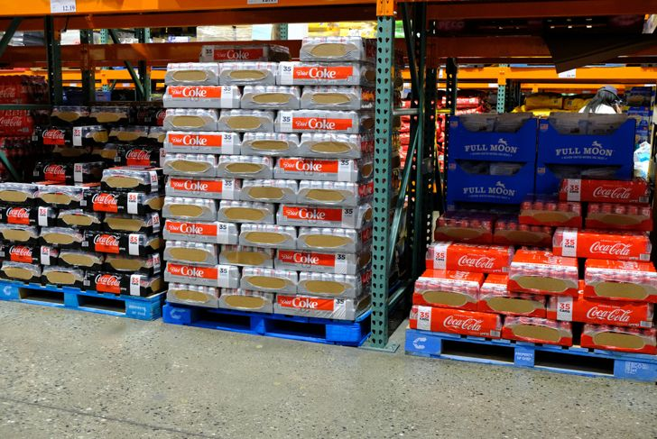 flats of soda at a wholesale store