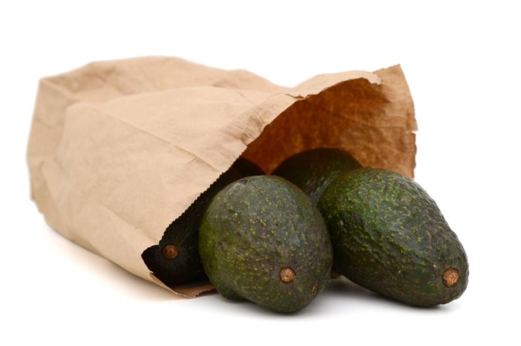 avocados in a paper bag on white background