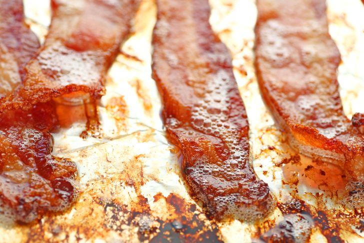 greasy bacon on aluminium foil